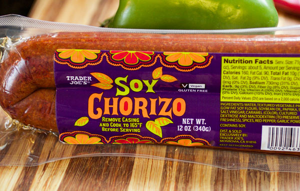A package of Trader Joes' Soy Chorizo.