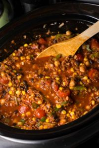 Soy Chorizo Chili in a slow cooker