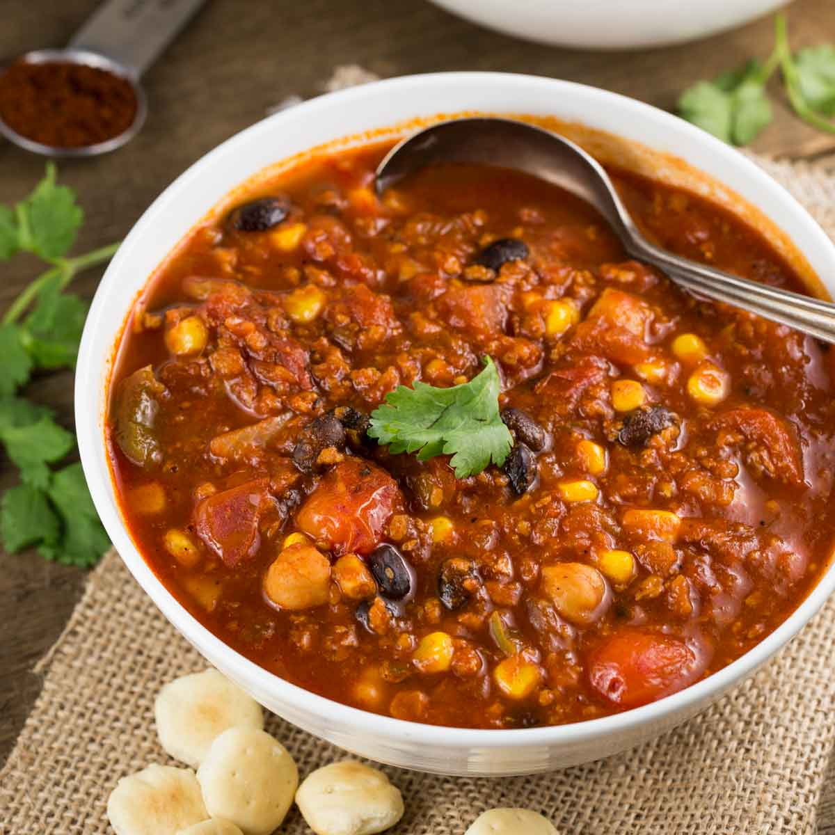 Slow cooker soy chorizo chili vegan veggie chick recipes easy gluten free lunch main dishes nut free oil free slow cooker soups stews chili trader joes under 400 calories vegan recipes forumfinder Images