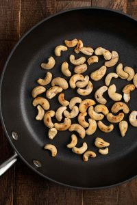 Cashews browned in a pan