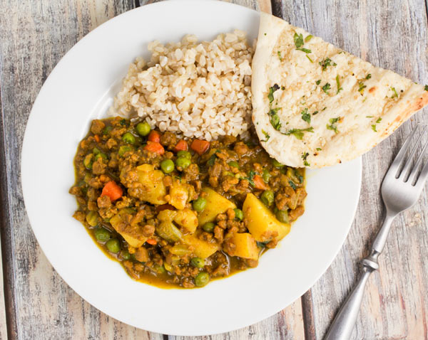 Delicious one-pot keema with vegetables via veggiechick.com #vegan #vegetarian #indian #traderjoes