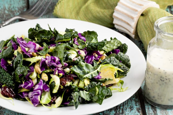 Sweet and crunchy superfood salad with poppyseed dressing via veggiechick.com #vegan #vegetarian #glutenfree #salad