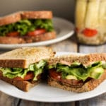 Veggie BLT with Spicy Mayo via veggiechick.com #vegan #vegetarian #blt #sandwich