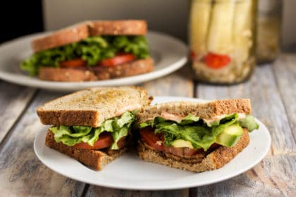 Veggie BLT with Spicy Mayo via veggiechick.com #vegan #vegetarian #blt #sandwich