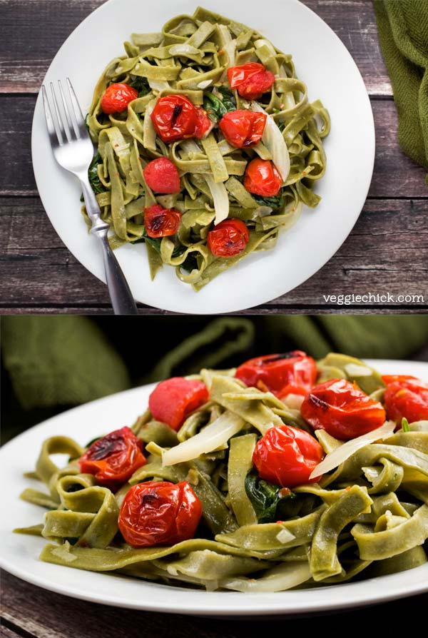 Spinach and Fennel Fettuccine w/ Roasted Tomatoes