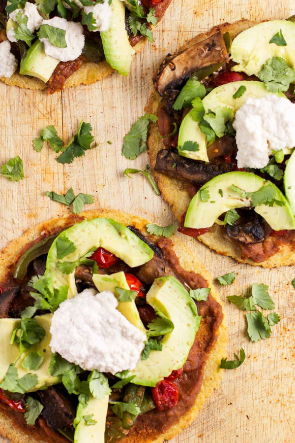 Portobello Tostadas with a chipotle cream sauce via veggiechick.com #vegan #vegetarian #glutenfree #mexican