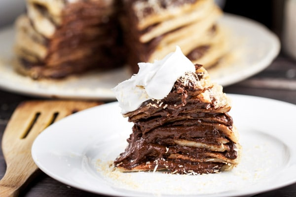 Coconut Crepe Cake with Chocolate Mouse (vegan)- via veggiechick.com