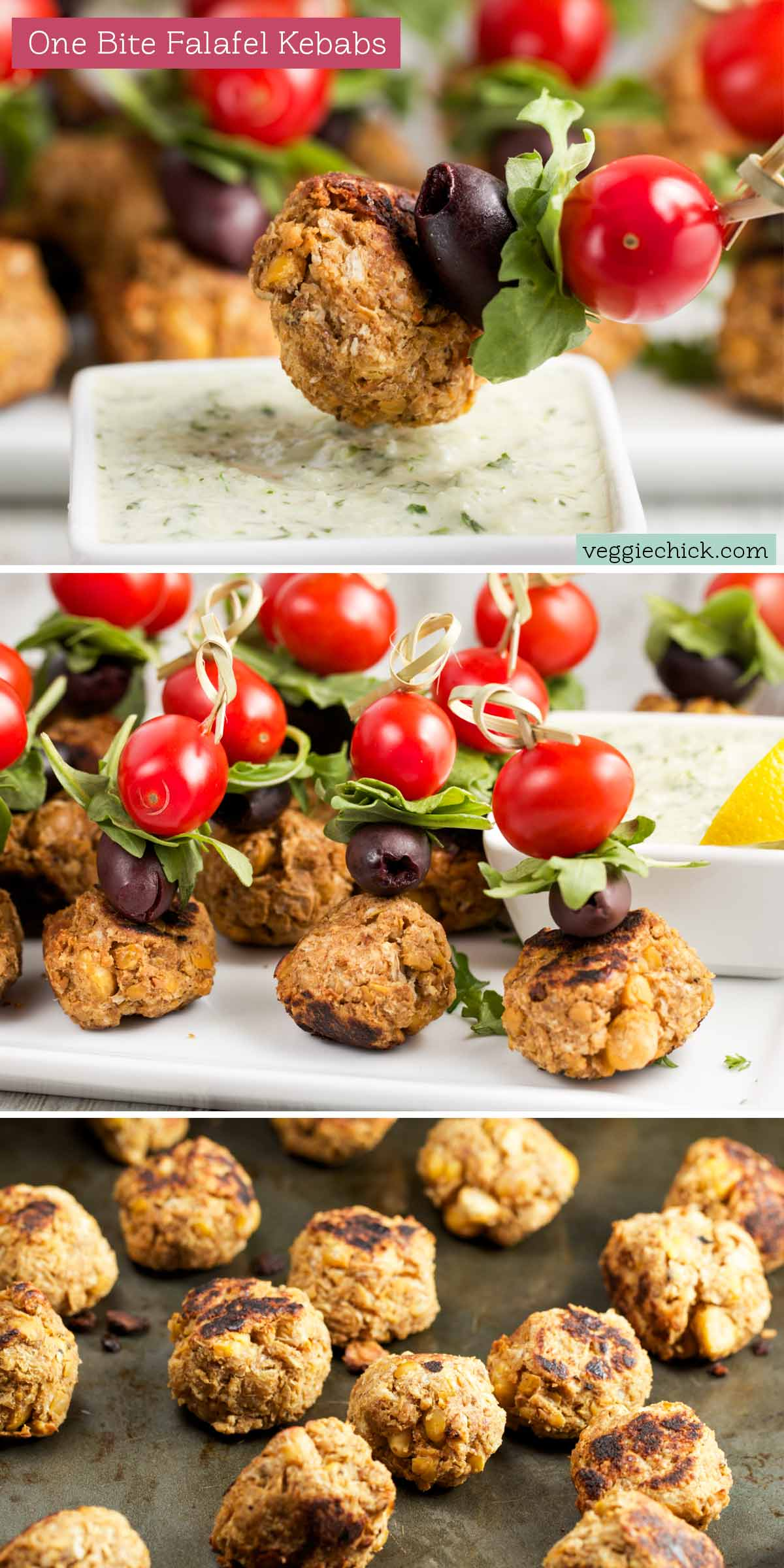 Unique party idea! Baked One Bite Falafel Kebabs via veggiechick.com #vegan #middleeastern