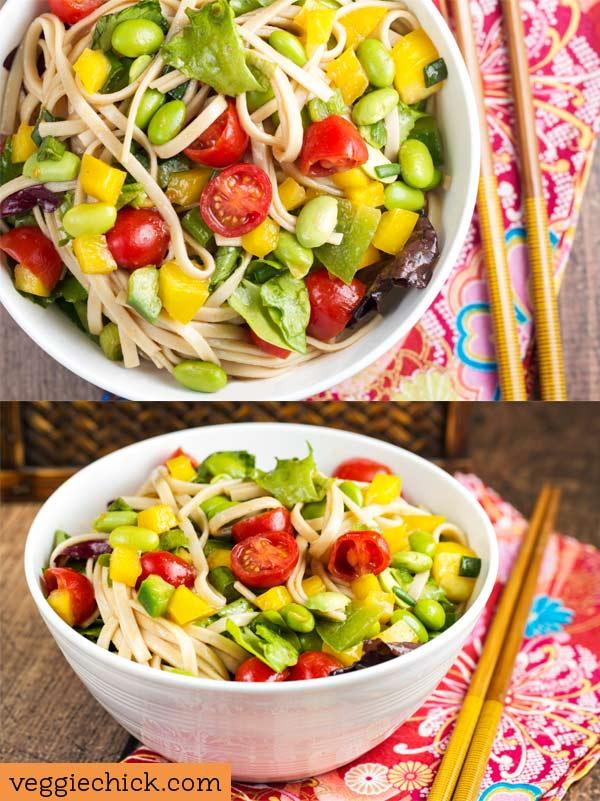 Udon Noodle salad via veggiechick.com #vegan