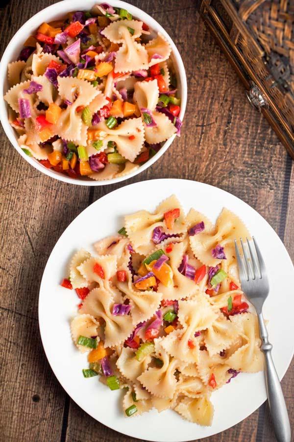 Amazing Spicy-Sweet Thai Chili Pasta- packed with veggies- via veggiechick.com #vegan