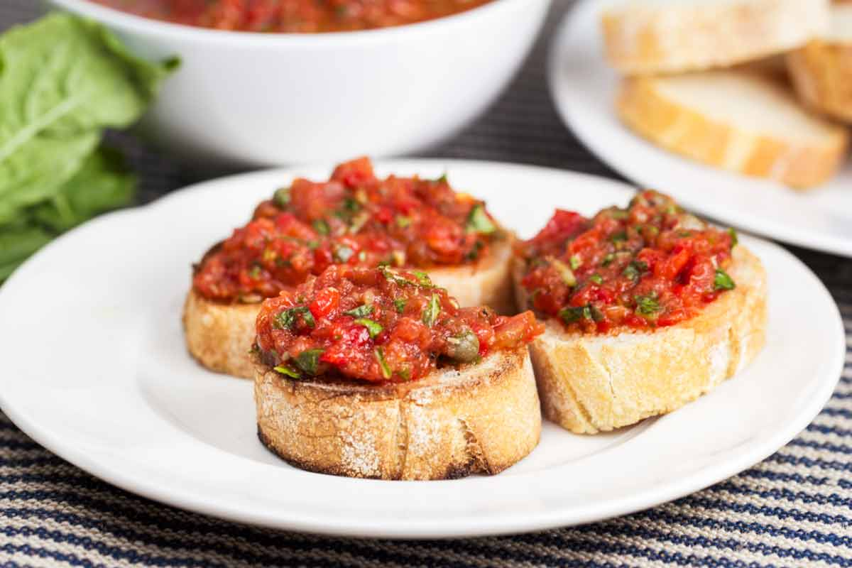 easy caper tomato bruschetta veggie chick recipes. Black Bedroom Furniture Sets. Home Design Ideas