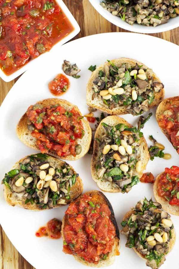 Fancy Mushroom Bruschetta- so easy! via veggiechick.com #vegan
