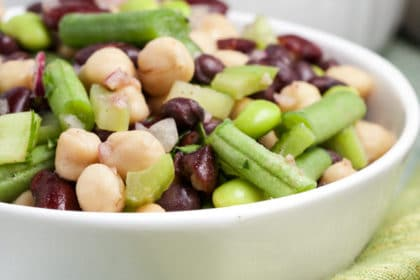 Easy 5 Bean Salad via veggiechick.com #vegan #glutenfree