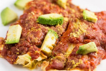 Veggie Enchilada Casserole with Homemade Sauce via veggiechick.com #vegan #glutenfree