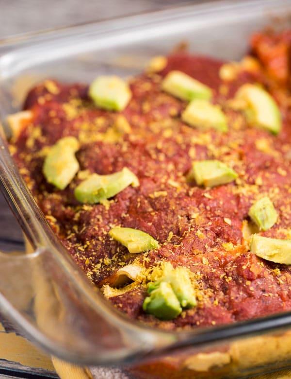 Veggie Enchilada Casserole with Homemade Sauce via veggiechick.com #vegan #glutenfree