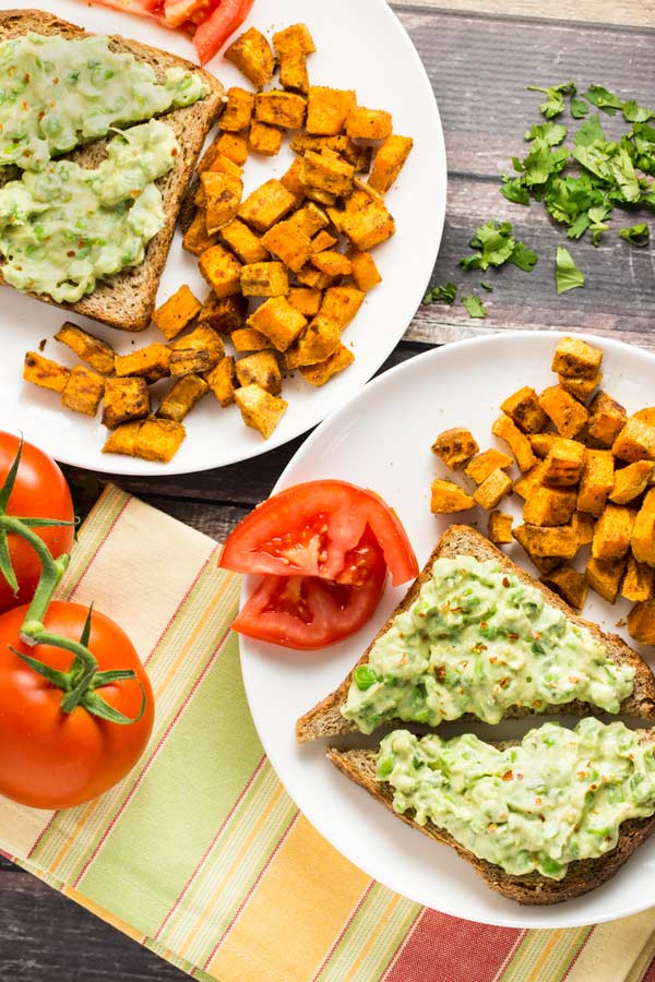 Avocado Toast w/ Sweet Potato Home Fries |via veggiechick.com #vegan