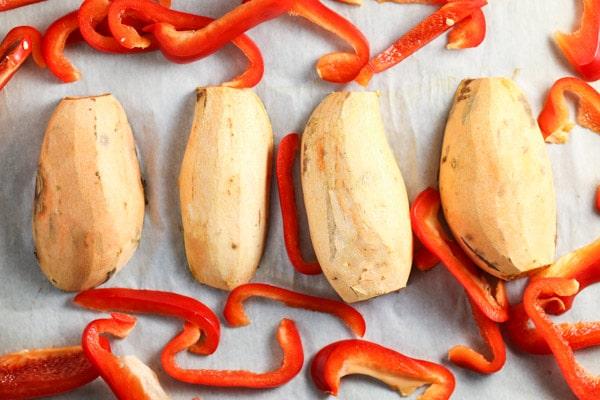Sweet Potato and Red Pepper Hummus | via veggiechick.com #vegan # ...