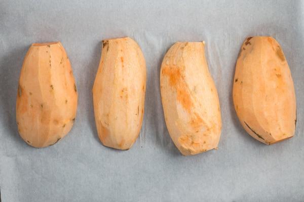 Sweet Potato and Roasted Red Pepper Hummus   via veggiechick.com #vegan #glutenfree