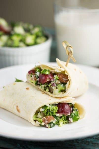 Broccoli-Quinoa Wraps | via veggiechick.com #vegan #glutenfree