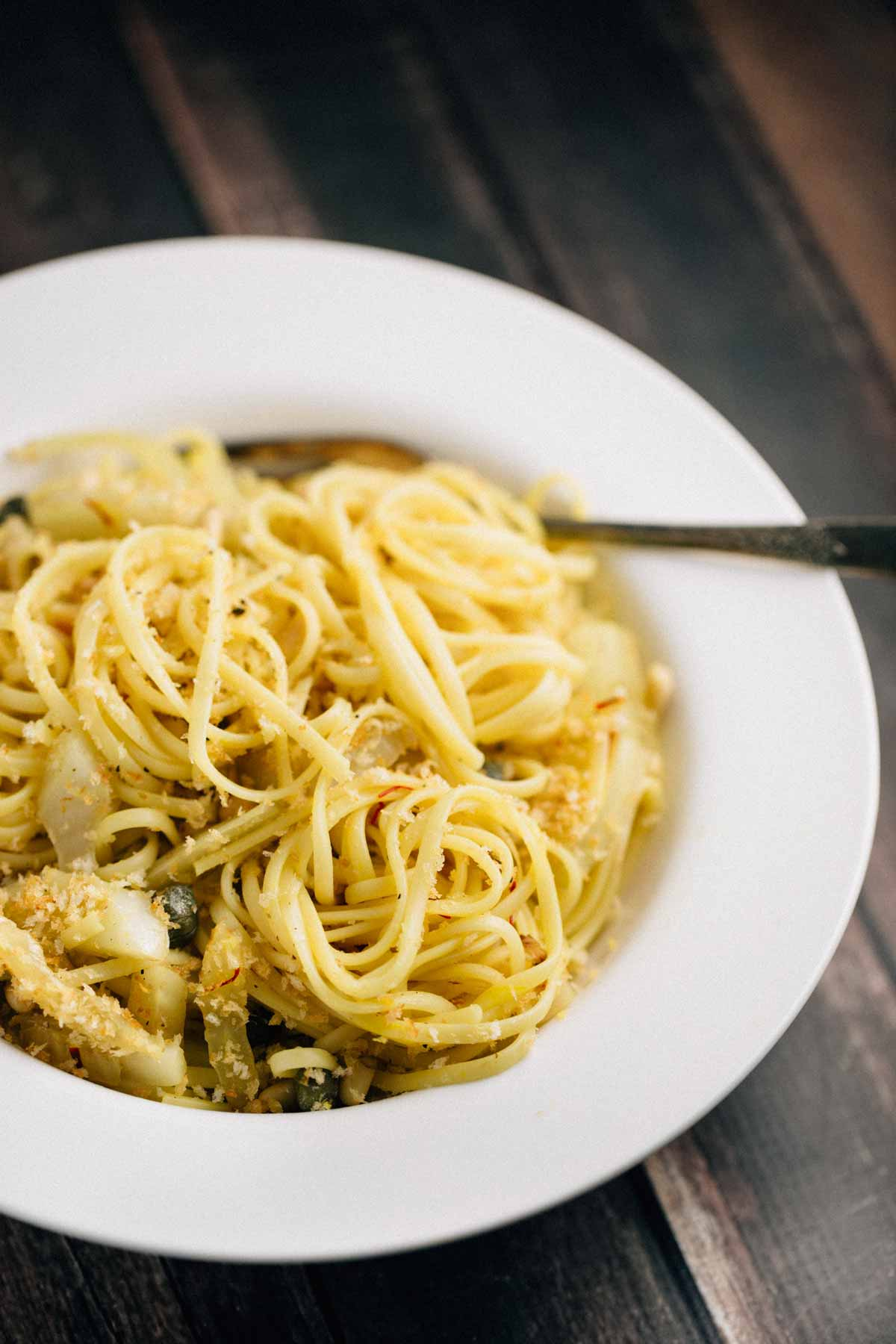Saffron Fennel Pasta with Capers (Vegan)
