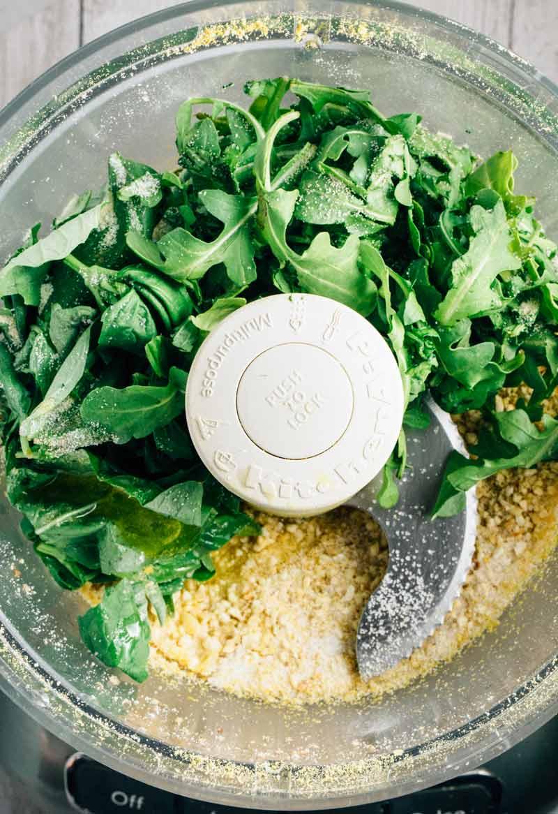 Arugula Basil Pesto | via veggiechick.com #vegan #glutenfree