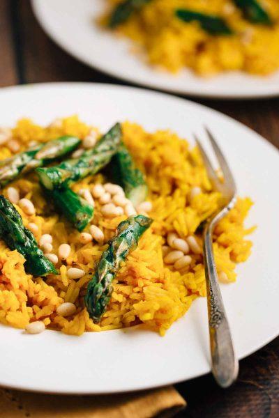 Saffron Rice with Asparagus | via veggiechick.com #vegan #glutenfree