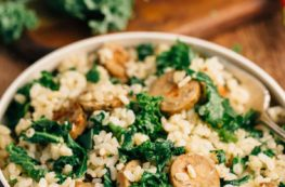 Sausage and Kale Rice Bowl for One | via veggiechick.com #vegan #glutenfree