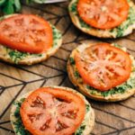 Bagel Thin Pesto Sandwich | via veggiechick.com #vegan