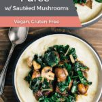 Cauliflower Puree with sauteed swiss chard and mushrooms