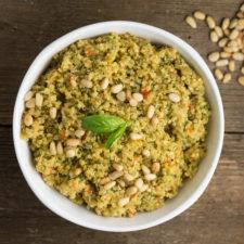 Basil Pesto Quinoa   via veggiechick.com #vegan #glutenfree
