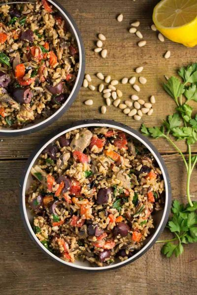 Mediterranean Wild Rice with Pine Nut Cheese
