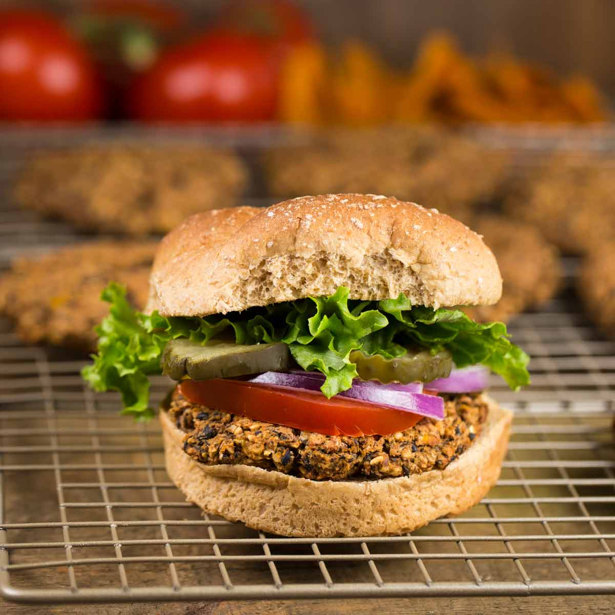 Black Bean Oat Burgers | via veggiechick.com #vegan #oilfree