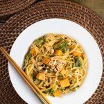 Sweet Potato Noodle Bowl with Peanut Sauce | via veggiechick.com #vegan #glutenfree #oilfree