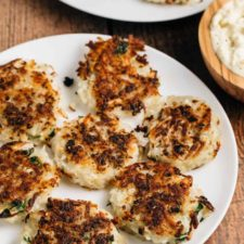 Potato Cauliflower Latkes with Horseradish Sauce