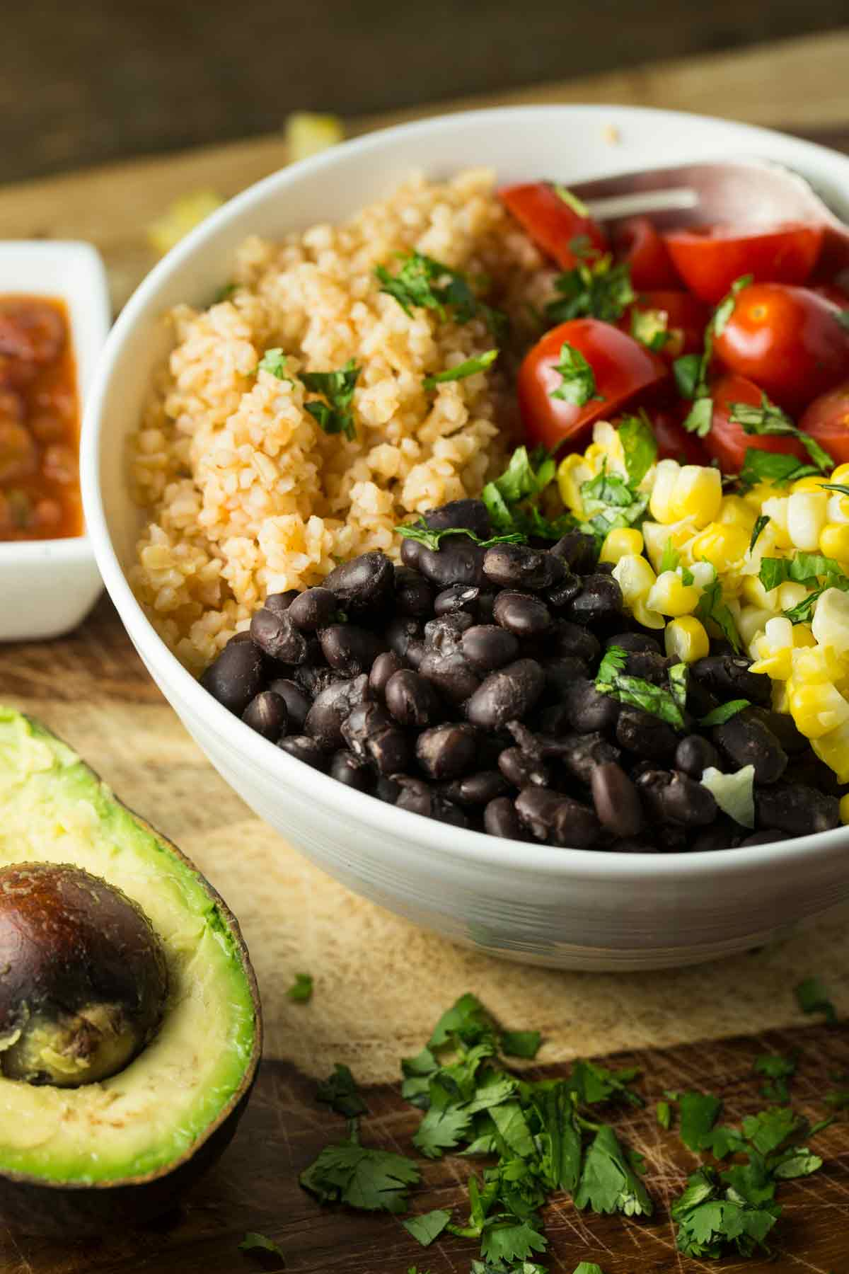 Mexican Black Bean Bulgar Bowl | via veggiechick.com #oilfree #vegan