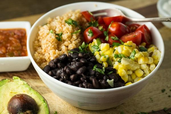 Mexican Black Bean Bulgar Bowl | via veggiechick.com #oilfree #vegan
