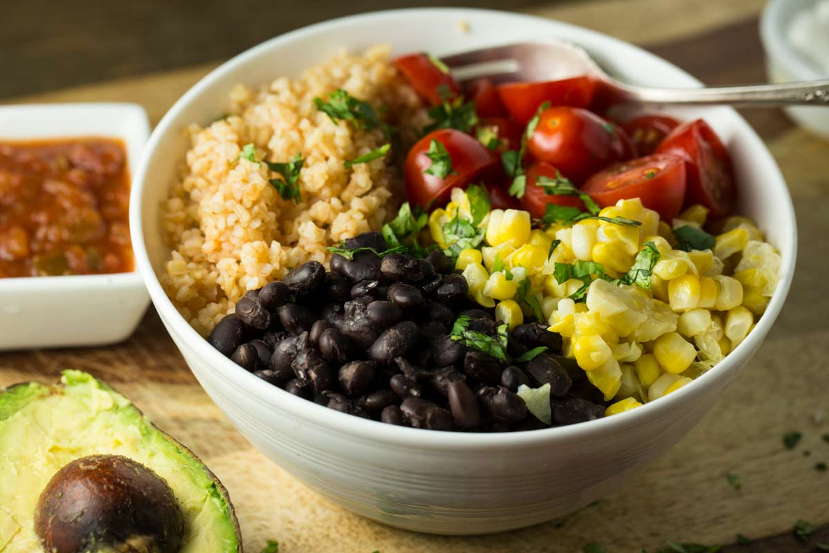Mexican Black Bean Bulgar Bowl Vegan Veggie Chick