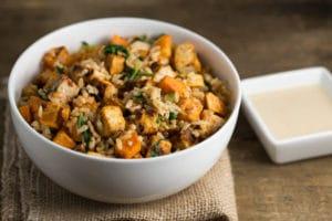 Tofu Sweet Potato Bowl with Sweet Tahini Sauce | via veggiechick.com #vegan
