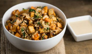 Tofu Sweet Potato Bowl with Sweet Tahini Sauce | via veggiechick.com #vegan