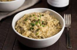 Instant Pot Vegan Mushroom Risotto | via veggiechick.com #oilfree