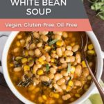 A bowl of slow cooker sage and white bean soup