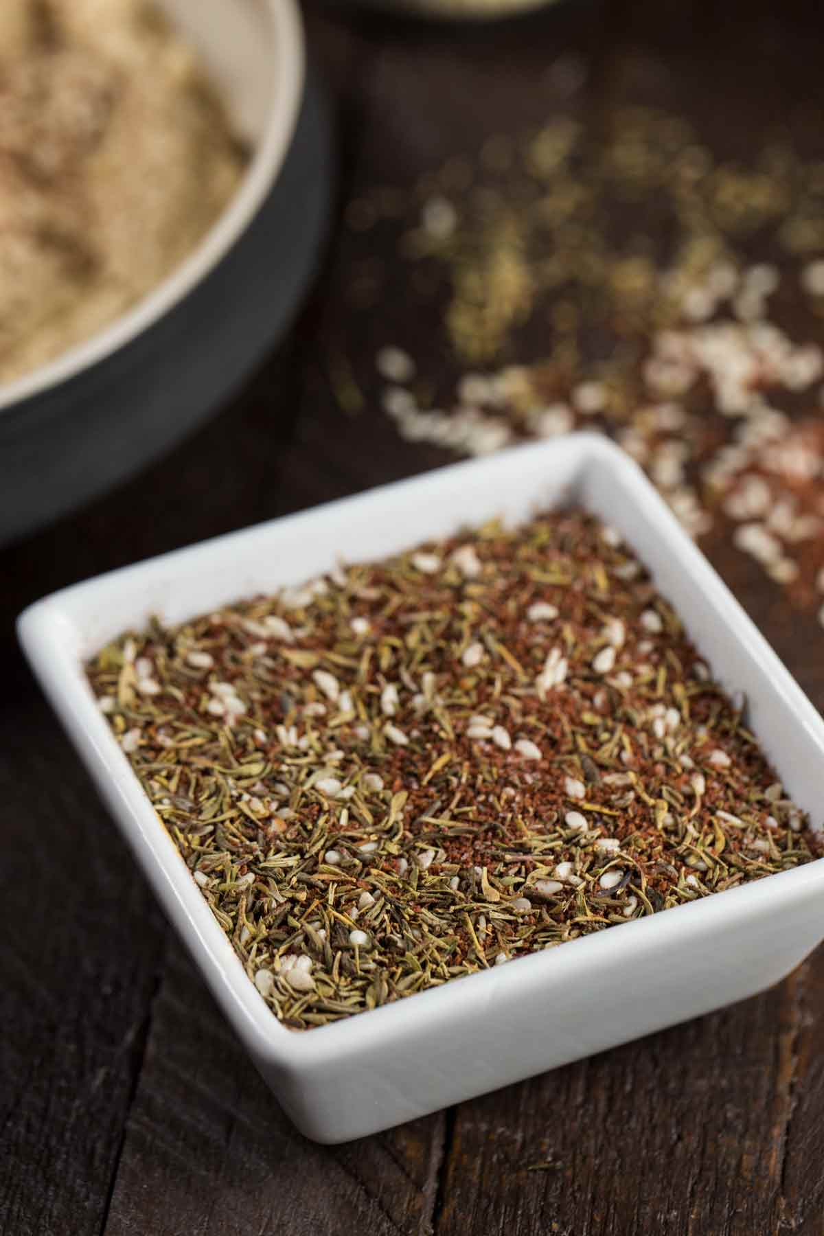 Za'atar Seasoning in a white bowl.