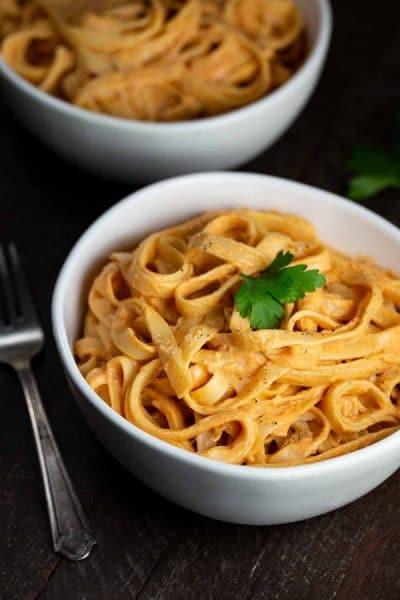 Vegan Sun-Dried Tomato Alfredo Pasta