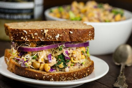 Chickpea No-Tuna Salad with Sauerkraut | via veggiechick.com #vegan