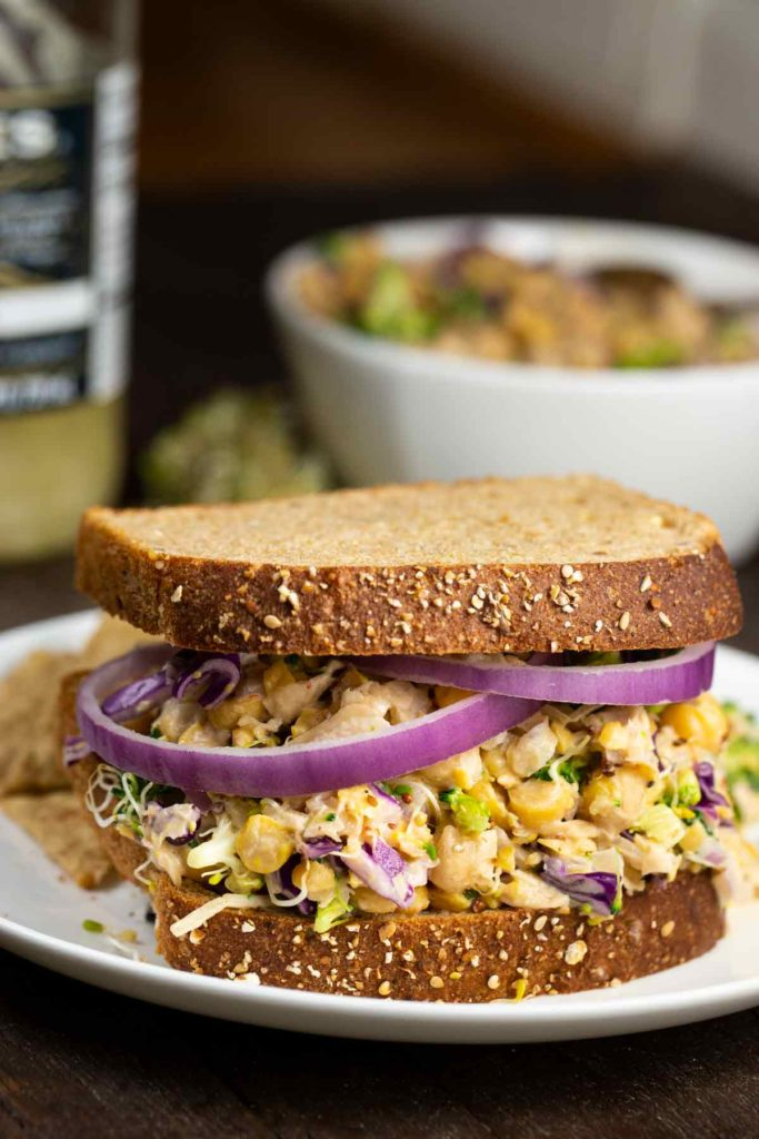 Chickpea No-Tuna Salad with Sauerkraut | via veggiechick.com #vegan #glutenfree