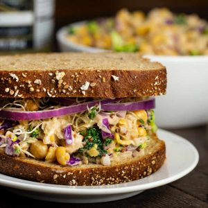 Chickpea No-Tuna Salad with Sauerkraut | via veggiechick.com #vegan #glutenfree
