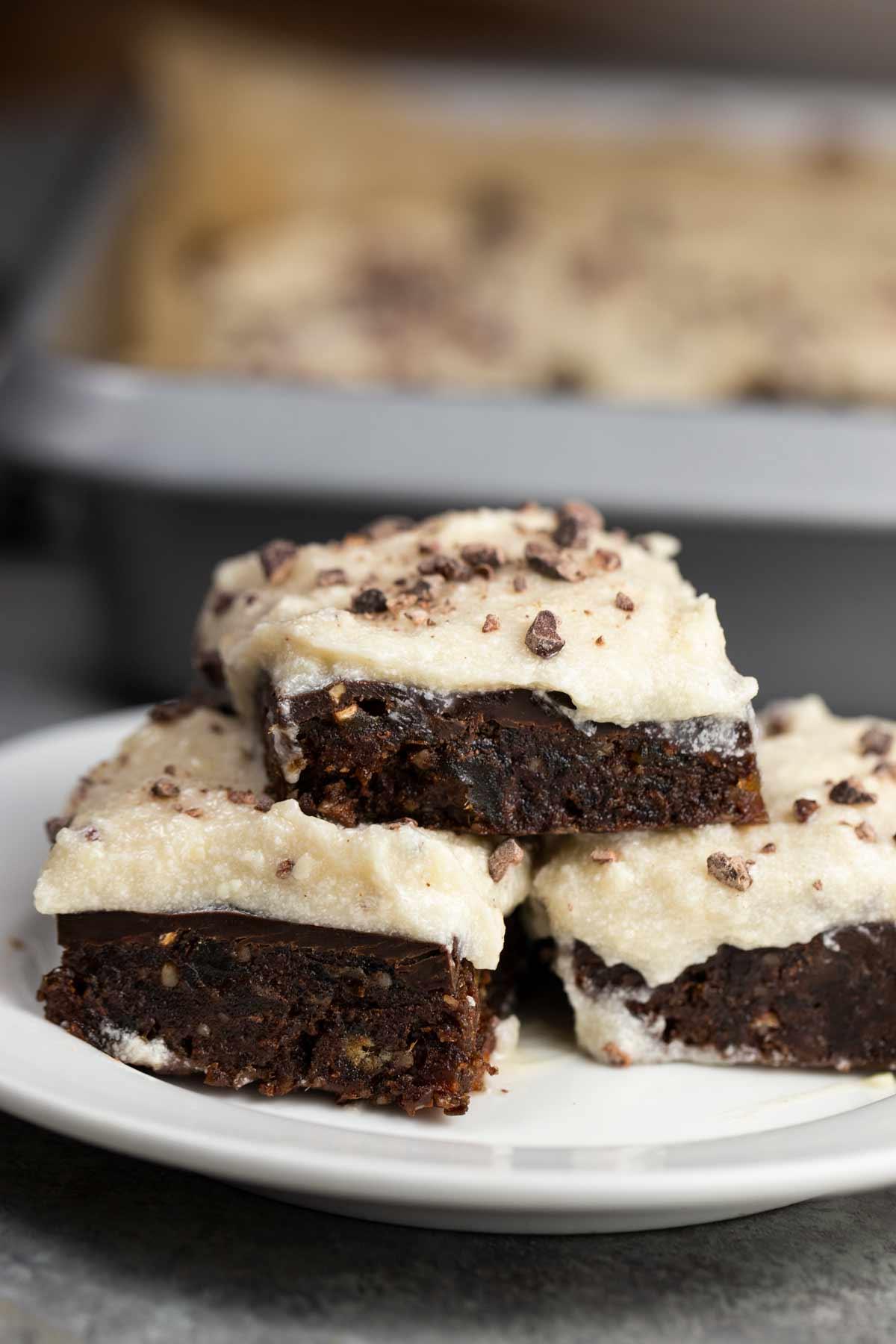 Raw Brownies with Cream Cheese Ganache (No Bake, Vegan)   via veggiechick.com