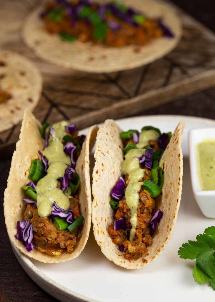 Lentil Nut Tacos with Cashew Avocado Cream | via veggiechick.com #vegan #glutenfree