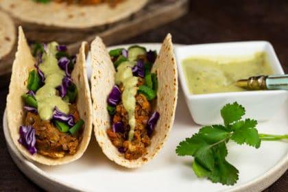 Lentil Nut Tacos with Cashew Avocado Cream   via veggiechick.com #vegan #glutenfree