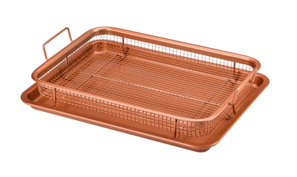 A copper air fryer crisper tray for the oven